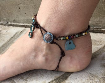 Infinity Anklet Love Anklet Heart Anklet Bohemian Leather Ankle Bracelet Cute Anklet Colorful Anklet Made in USA Leather Jewelry