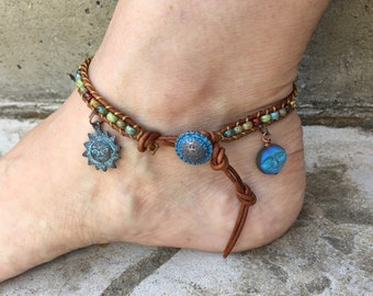 Sun Anklet Sun Jewelry Moon Anklet Moon Jewelry Bohemian Anklet Leather Anklet Boho Chic Cute Anklet Leather Jewelry Made in USA