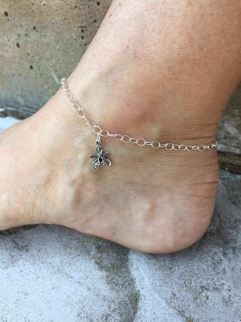 Orchid Anklet Orchid Jewelry Flower Anklet Flower Jewelry Made in USA Cute Anklet Unique Anklet Adjustable Sterling Silver Ankle Bracelet