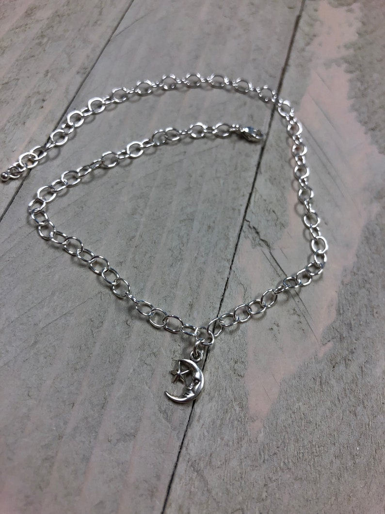 Moon and Stars Anklet Moon and Stars Jewelry Sterling Silver Ankle Bracelet Made in USA Cute Anklet Silver Anklet Made in Texas Moon Jewelry