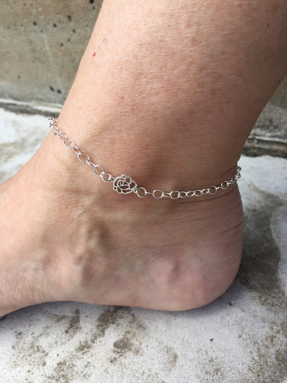 Gothic Rose Tipped Rose Sterling Silver Anklet or Bracelet Tipped Rose Jewelry Tiny Rose Anklet
