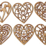 Heart Wooden Valentine or Christmas Holiday Ornaments Decorations Set of 6, by EP Laser