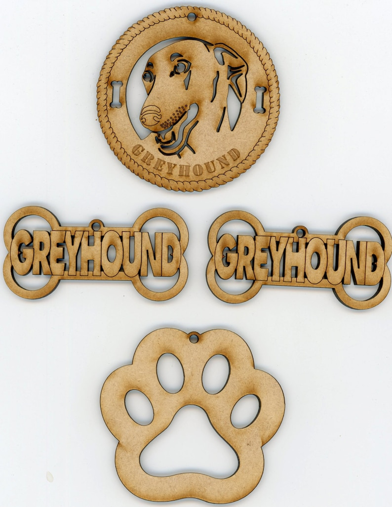 Greyhound Dog Breed Ornaments  Set of 4 for Decorations image 0