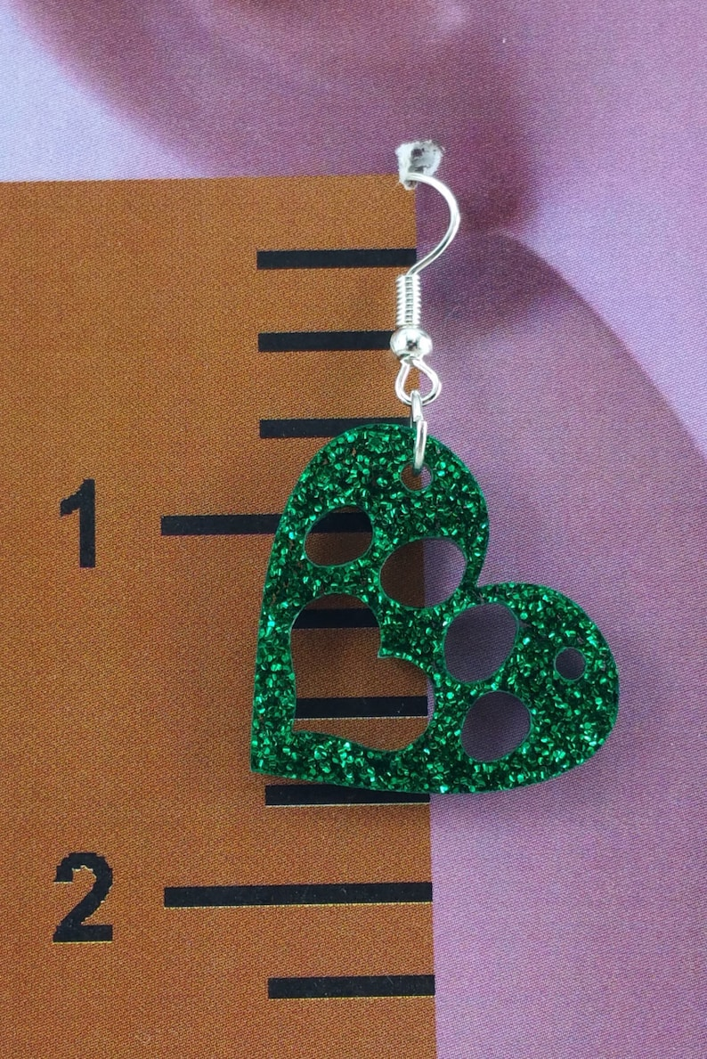 Paw Print in Heart Earrings  Hypoallergenic  Choose your image 0