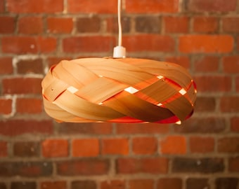 The Braid - wood and copper light shade