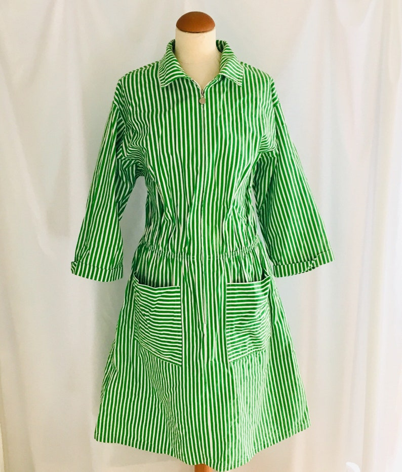 1970s Vintage green stripes dress made in Finland by Meersi  Rovaniemi
