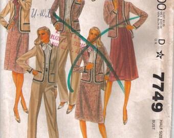 Vintage UNCUT McCall's  Sewing Pattern 7749 Misses' Work Ensemble Blouse Jacket Pants Skirt Size 18.5 Bust 41 circa  1981