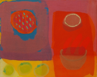 Original Art Red Abstract Painting - Still Life Painting 'Heat #1'