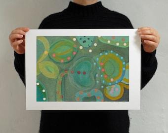 Green Abstract Flora and Fauna Print 'Marimekko Spring'