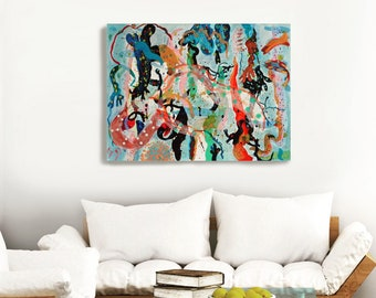 Large Abstract Painting Original on Canvas - 'Seaweed and Sea Creatures'