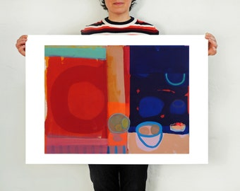 Large Colourful Art Print with Fruit Bowl