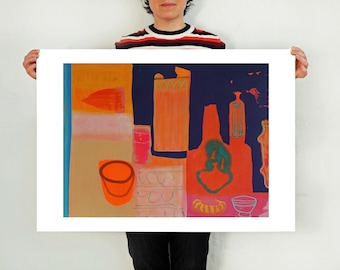 Large Wall Art Interior Still Life in Orange and Pink - 'Room #2'