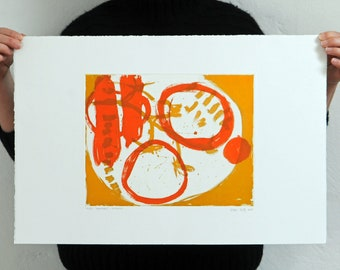 Hand Pulled Print Orange and Yellow 2 Plate Colour Etching 'Tomatoes'