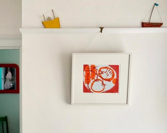 Orange and Red Hand Pulled Print Abstract 'Tomatoes' - 2 Plate Colour Etching