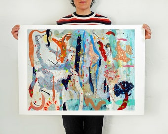 Large Abstract Print of Original Painting 'Seaweed and Sea Creatures'