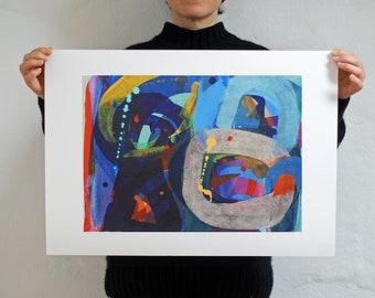Blue Abstract Art Print - Fine Art Print of Original Painting 'Jungle Garden #2'
