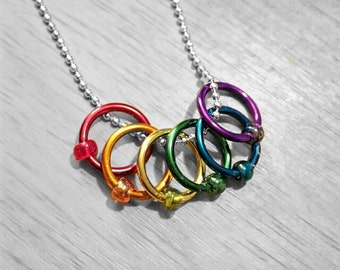 Stitch Marker Necklace - Rainbow Rings - Snag Free - Knitting