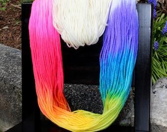 Unicorn - Hand Painted Superwash Merino Yarn - DK - Merino Nylon Tinsle Sparkle Sock