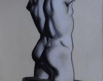 Original Charcoal Drawing, Male Torso, Black and White Art, Classical Art, Greek Sculpture