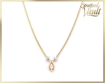 Ladies Diamond Necklace ~ 14K Yellow & White Gold ~ 0.15ct Pear Shaped F/SI2 Center Diamond ~ Single Cut Diamonds ~ STR21097
