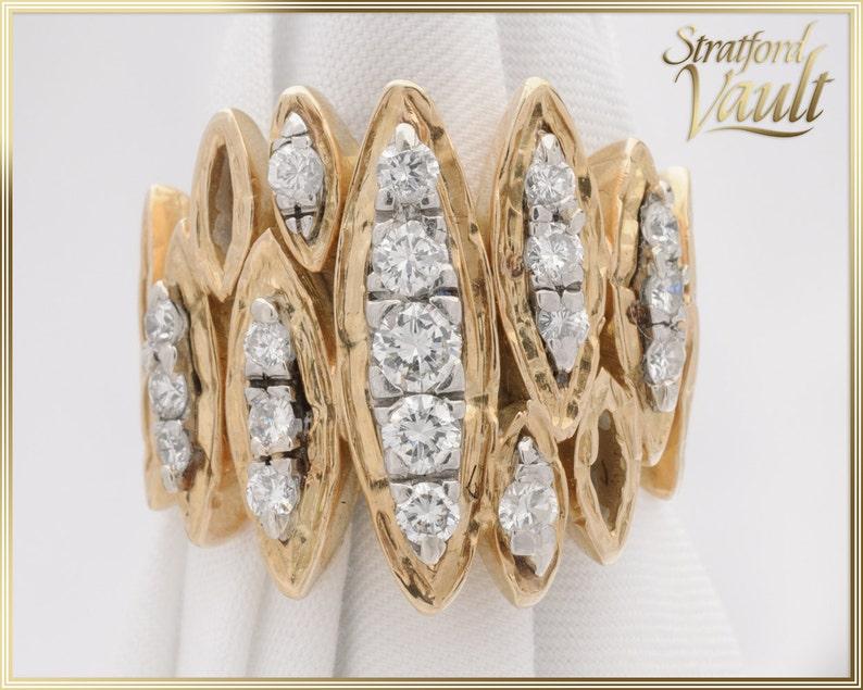 Custom Made  Diamond Right Hand Ring  18K Yellow Gold image 0