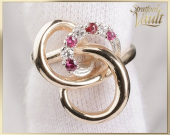 Vintage ~ Ladies Ruby and Diamond Ring ~ 14k Yellow Gold ~ Genuine Round Faceted Rubies ~ Single Cut Diamonds ~ STR21053