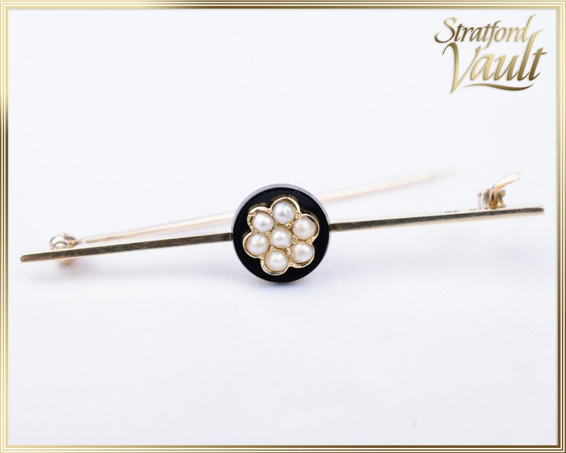 Antique Art Nouveau  Ladies Onyx & Pearl Pin  10.00mm Carved image 0