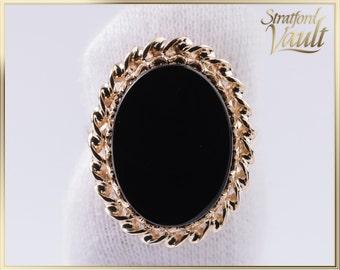 Vintage ~ Ladies Black Onyx Right Hand Ring ~ 16 x 12 mm Oval Cut Flat Top Genuine Black Onyx ~ 10K Yellow Gold ~ STR21069