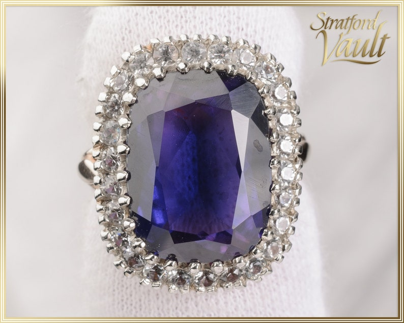 Vintage Created Sapphire Ring  12.00ct Color Change Sapphire image 0