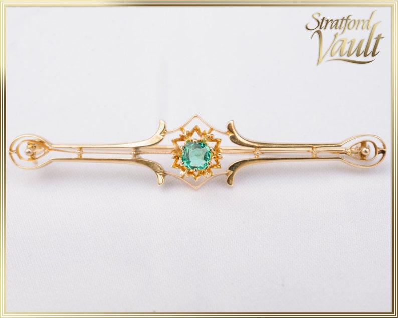 Antique Art Deco  Ladies Emerald Bar Pin Brooch  14K Yellow image 0