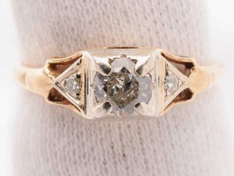 Art Deco  Ladies Solitaire Diamond Ring  0.34ct Genuine Late image 0