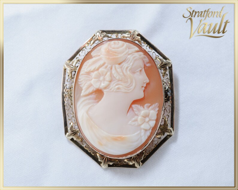 Antique Signed Cameo Brooch / Pendant  Large 30 x 22 Hand image 0