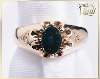Vintage Gents Bloodstone Ring ~ 10K Yellow Gold ~  8 x 6 mm Oval Genuine Bloodstone Tablet~ Two Diamond Accents ~ STR21093
