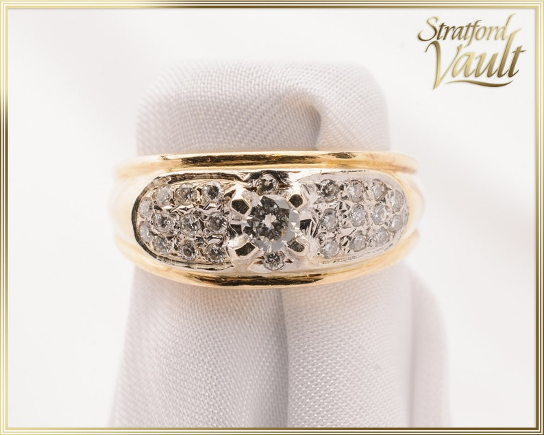 Diamond Right Hand Ring  14K Yellow & White Gold  0.15ct image 0