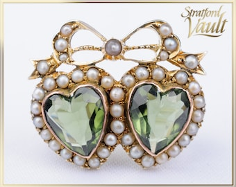 Art Nouveau ~ Seed Pearl Heart Bow Brooch ~ 10k Yellow Gold ~ Bead Set Pearls ~ Heart Shaped Faceted Green Glass ~ STR21089