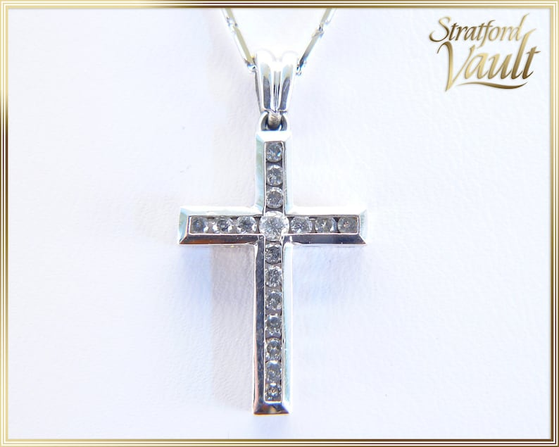 Vintage  Diamond Cross Pendant  10K White Gold Channel Set image 0