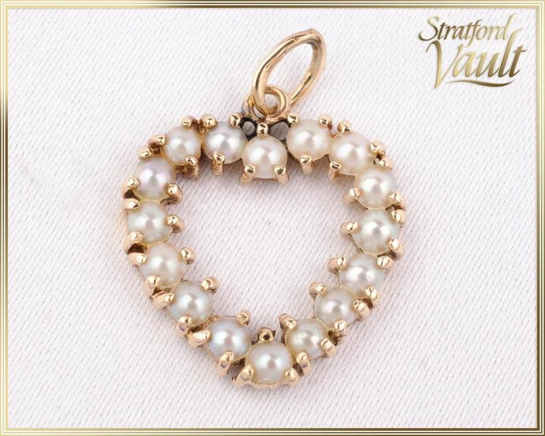 Vintage  Ladies Cultured Pearl Heart Pendant  14K Yellow image 0