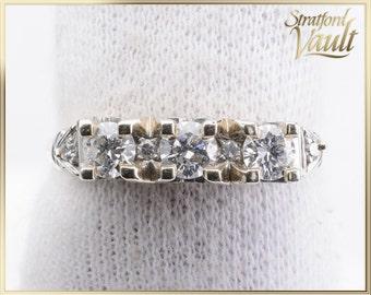 Vintage ~ Ladies Diamond Anniversary PPF Ring ~ 14K Yellow & White Gold ~ 0.50ctw Brilliant Cut H/SI1-2 Diamonds ~ STR21100