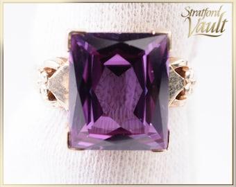 Antique ~ Ladies Alexandrite Ring ~ 10K Yellow Gold ~ Emerald Cut 12.0 x 10.0 mm (7.30ct) Created Alexandrite ~ STR21079