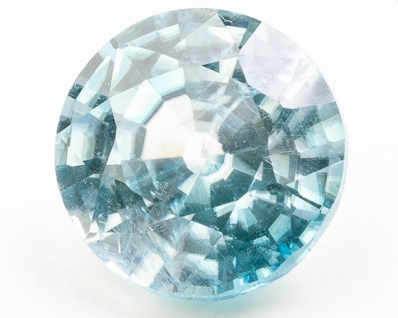 Fancy Round Faceted Light Blue Zircon  9.36 x 9.31 x 5.66 mm image 0
