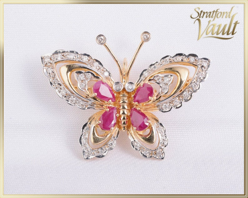 Vintage  Ruby & Diamond Butterfly Brooch  1.00ctw Genuine image 0