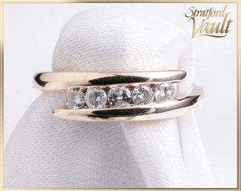 Vintage Ladies Diamond Right Hand Ring ~ 10k Yellow Gold Setting ~ 0.25ctw Claw Set Brilliant Cut H/I1 Diamonds ~ STR21091