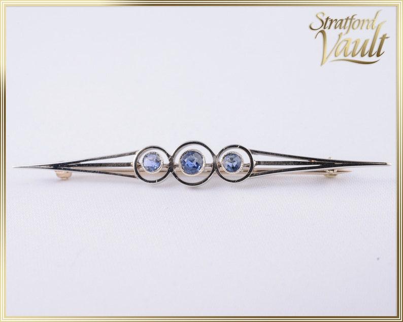 Antique Art Deco  Ceylon Sapphire Brooch  0.55ctw Natural image 0