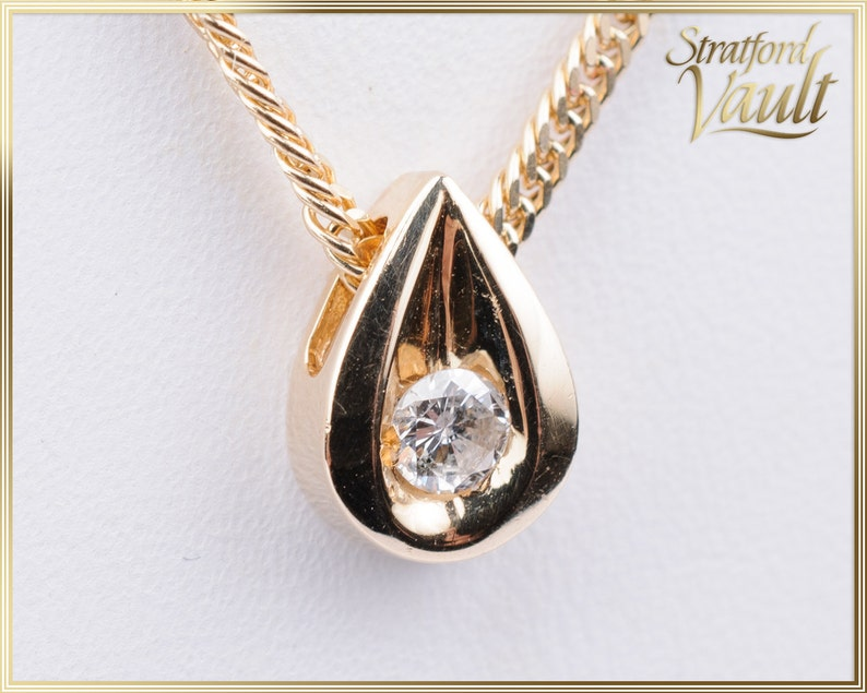 Ladies Diamond Solitaire with Chain  14K Yellow Gold  0.12ct image 0