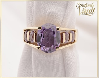 Synthetic Alexandrite Ring ~ 3.35ct Oval Created Alexandrite ~ 1.20ctw Side Created Alexandrite ~ 10K Yellow Gold ~ STR21095