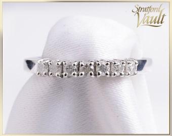 Vintage ~ Ladies Diamond Wedding Band ~ 14k White Gold ~ 7 x 0.03ct (0.21ctw) Round Brilliant Cut H/I1 Diamonds ~ STR21090