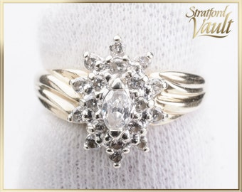 Diamond Right Hand Ring ~ 14K Yellow & White Gold ~ 0.51ctw Genuine Marquise Cut Diamond and Single Cut Accents ~ STR21101