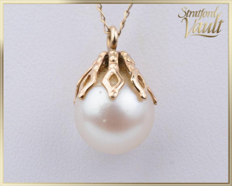 Vintage Ladies Pearl Pendant  8.5 mm White Cultured Pearl  image 0