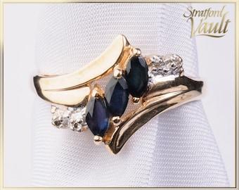 Vintage Sapphire & Diamond Ring ~ 10K Yellow Gold ~ 0.60 ctw Genuine Marquise Sapphires ~ Single Cut Diamonds ~ STR21051
