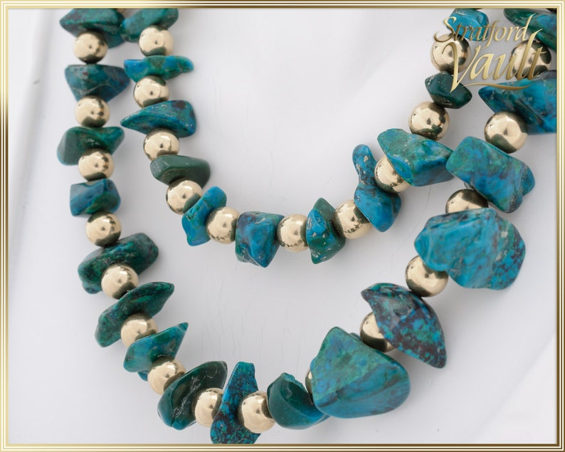 Vintage Gold and Turquoise Necklace  14K Yellow Gold Drilled image 0
